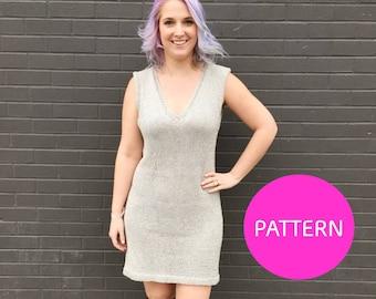 KNIT PATTERN, No Seam sweater dress pattern, dress pattern, knit dress, knit dress pattern, modern knit dress pattern, simple knit dress