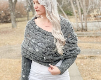 KNITTING PATTERN ** Wrapped Up in Cables Sweater Scarf, scarf with sleeves, sneed, lace scarf with sleeves, lace knit wrap, lace knit shawl