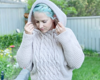 KNITTING PATTERN ** Cable Crush Hoodie, knit hoodie, cabled hoody, cozy knit hoodie, hooded knit sweater, knit sweater, cable knit sweater