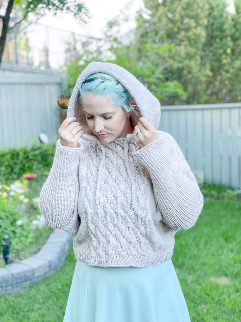 KNITTING PATTERN  Cable Crush Hoodie knit hoodie cabled image 0
