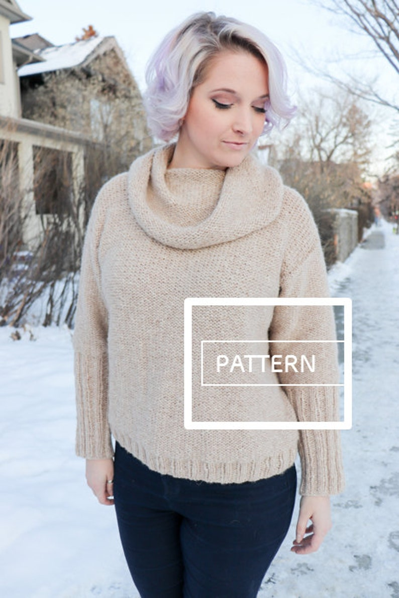 KNITTING PATTERN Tunnel Vision Sweater cowl knit sweater image 0
