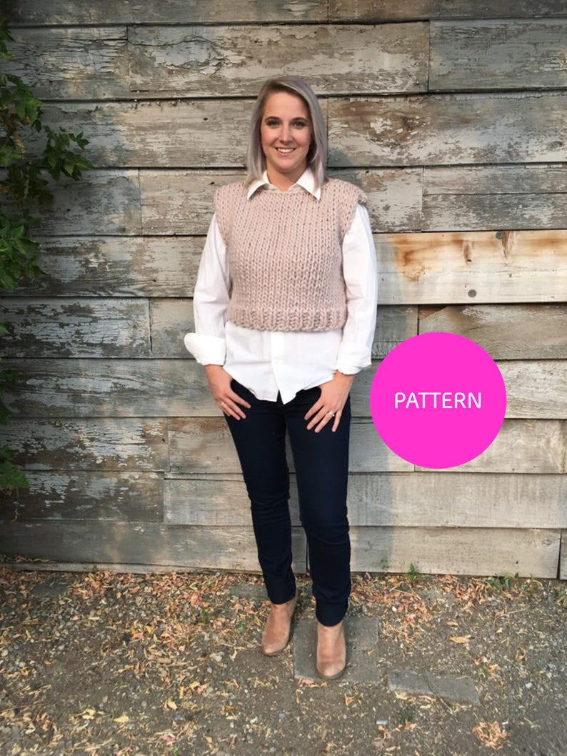 PATTERN ONLY The Spencer Wool Crop Top wool vest knit image 0
