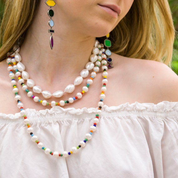 short chain freshwater pearls white with African glass beads