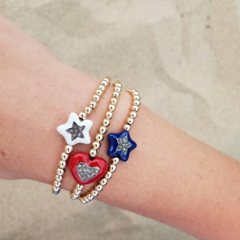 Enamel and Diamonds Charm Bracelet Bohemian Bracelet Stack Stackable Bracelet Pave Diamonds Jewelry Pave Diamonds Bracelet Beach