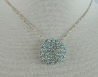 Silver Wire and Blue Topaz Crochet Necklace