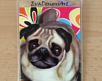 Luggage Tag Durable Plastic Loop Pug Dog Color Art Pet Gift Travel