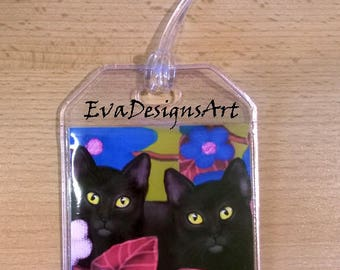 Luggage Tag Durable Plastic Loop Black Cats Color Fowers Art Pet Gift Travel