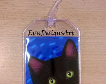 Luggage Tag Durable Plastic Loop Black Cat Blue Background Art Pet Gift Travel