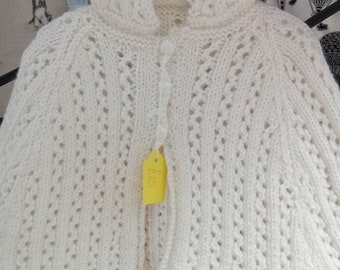 White lacy hooded cape, ideal for christening