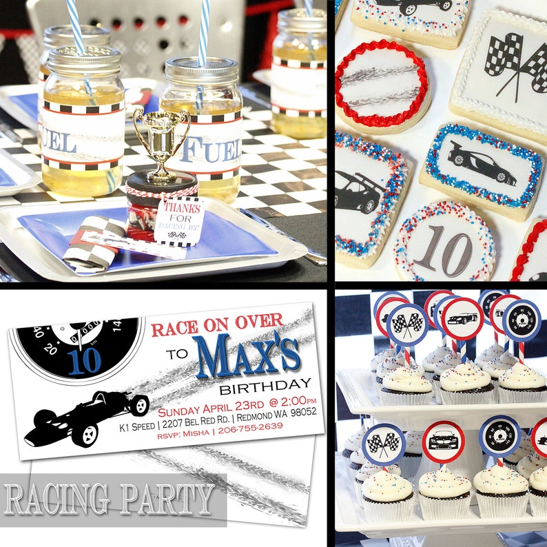 Racing Party Package - PRINTABLE FILE - Race Car Birthday Printables