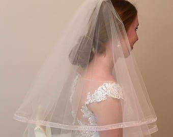 2 Layer Bridal Veil Ribbon Edge Blush Veil
