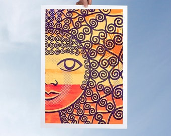 Home decor giclee print modern women art wall decor minimal face curly hair 60s style wall art abstract amber and red sunset portrait print