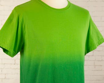 Mens ombre dip dyed Green to dark shirt gradient Mens pastel grunge shirt mens pastel goth shirt steampunk clothing Size M & L