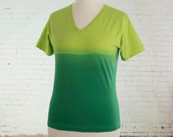 Womens tshirt V neck top pastel goth shirt ombre dip dyed tshirt gradient yellow to green pastel grunge clothing boho fashion Size Large