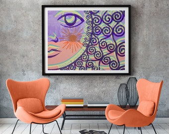 Abstract pastel wall decor, modern art giclée print for room decor, gift for home