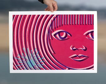 Abstract art modern woman print magenta pink bold minimal face wall art feminine giclee print on paper home decor office decor bedroom decor