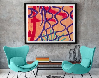 Abstract room decor, minimal wall art print, gift for home, apartment decor, giclée print on paper