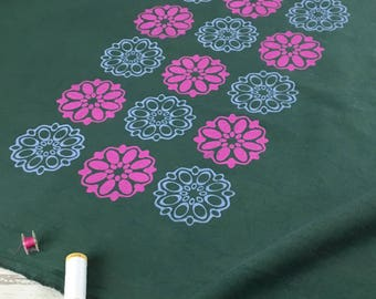 Retro fabric dark green cotton calico material hand dyed & handprinted pink and lilac 60s flowers natural cotton for sewing or crafting