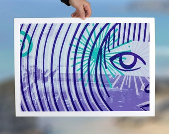 Minimal abstract wall art print, contemporary art decor, blues and lilac modern women, eye detail giclee print on paper