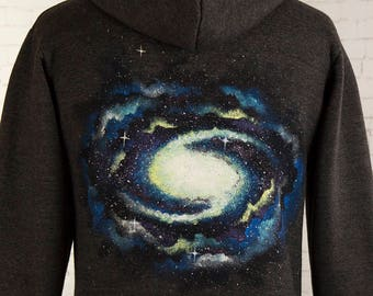 Galaxy hoody space hoodie hand painted galaxy swirl with stars grey hooded zip up hoodie for him gift for her clothing gift stars universe