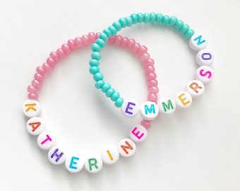girls party favors kids bracelets Girls Custom Rainbow Colored Wooden Beaded Stretchy Bracelet girls braclets bracelet party favors