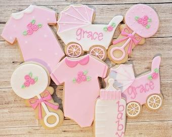12 Baby Girl Sugar Cookies - Baby Girl Shower Dessert - Girl Baby Shower Favors - Baby Girl Baby Shower Cookies - Baby Girl Cookies