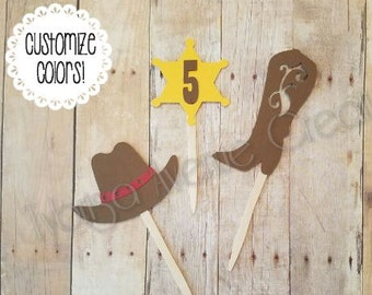 12 Cowboy Cowgirl Cupcake Toppers - Cowboy Theme Cupcake Toppers - Cowboy Boot Cupcake Toppers - Western Birthday - Sheriff Star Toppers