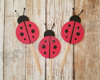 12 Ladybug Cupcake Toppers - Ladybug Birthday Decorations - Lady Bug First Birthday Toppers - Lady Bug Cupcake Toppers