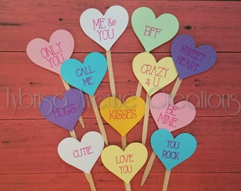 12 Conversation Hearts Cupcake Toppers - Valentines Day Cupcake Toppers - Heart Cupcake Toppers - Valentines Cupcake Toppers -Valentines Day