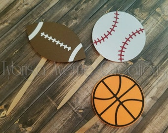 12 Sports Ball Cupcake Toppers - Sport Birthday Toppers - Baseball Toppers - Basketball Toppers - Sports Theme Baby Shower Cupcake Toppers