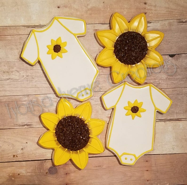 12 Sunflower Baby Shower Cookies Summer Baby Shower Favors Etsy