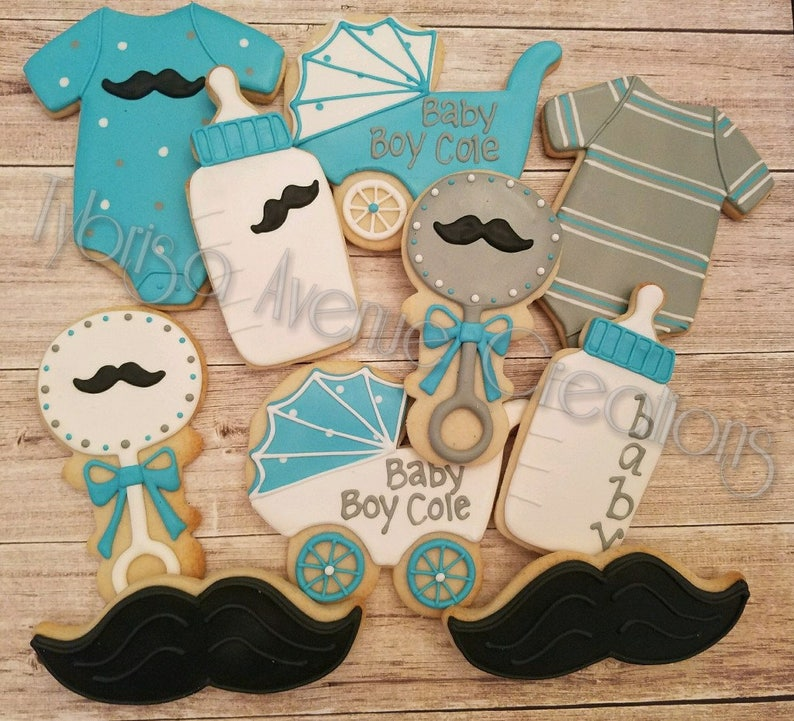 12 Mustache Baby Shower Sugar Cookies Little Man Themed Baby Etsy