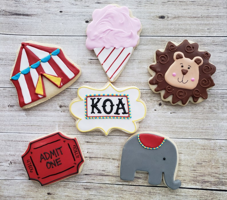 Circus Themed Sugar Cookies  Circus Party Favors  Carnival image 0