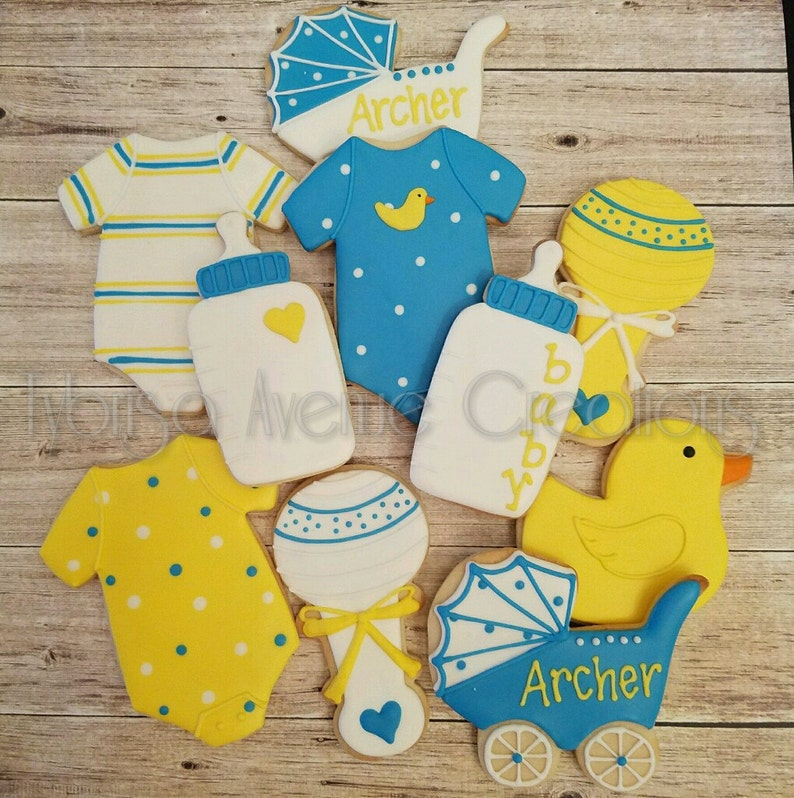 12 Baby Duck Sugar Cookies Boy Duck Baby Shower Favors Etsy