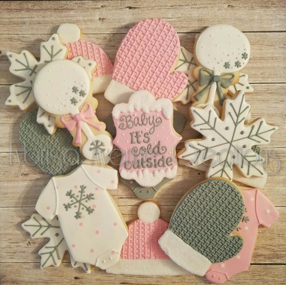12 Baby Its Cold Outside Sugar Cookies Winter Baby Girl Etsy