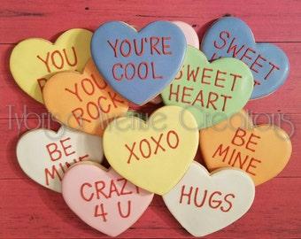 12 Conversation Heart Sugar Cookies - Valentine's Day Sugar Cookies - Heart Sugar Cookies - Be Mine Sugar Cookies