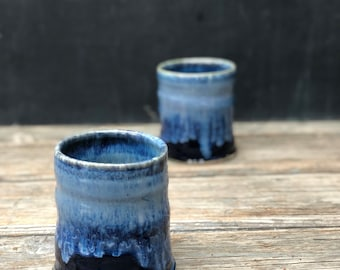 Ceramic cup in 'deepwater': Hand thrown pottery cup makes a great tumbler for water, juice and other refreshments