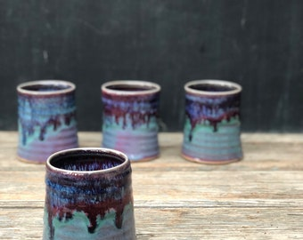 Ceramic cup in 'patina': Hand thrown pottery cup makes a great tumbler for water, juice and other refreshments