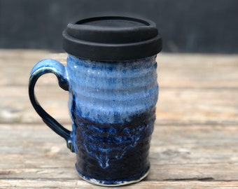 Pottery travel mug! Blue Ceramic to-go cup with lid & handle; take your coffee or tea with you without leaving your favorite mug behind.