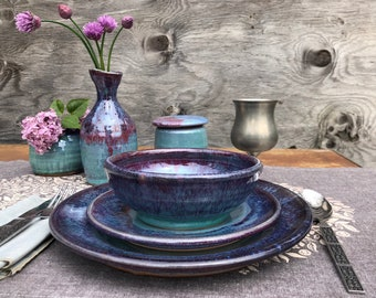 Hand thrown Ceramic Table Setting; Made to Order- Pottery Plates and bowls, ceramic tableware; dinnerware set. Different glazes available.