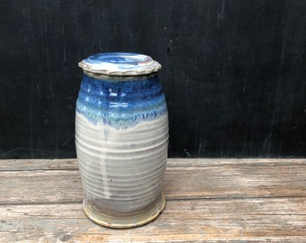 1 Gallon Ceramic Fermentation Crock in 'cocktail'- DIY ferment in this handmade pottery crock; weight included.