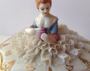 Porcelain Lace Lady Trinket Box