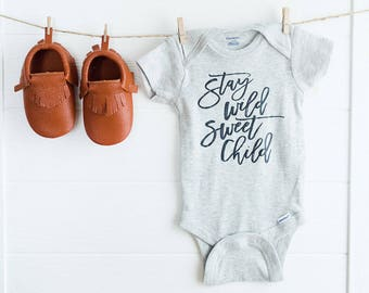 Stay Wild, Sweet Child // Grey Newborn Bodysuit Outfit, One Piece, Newborn Outfit, Welcome Baby, Baby Shower, Expectant, Pregnancy Gift
