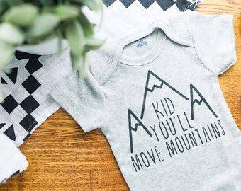 Kid, You'll Move Mountains // Grey Newborn Bodysuit Outfit, One Piece, Newborn Outfit, Welcome Baby, Baby Shower, Expectant, Pregnancy Gift