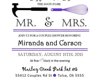 COUPLES WEDDING SHOWER Invitation Mrs.& Mr.