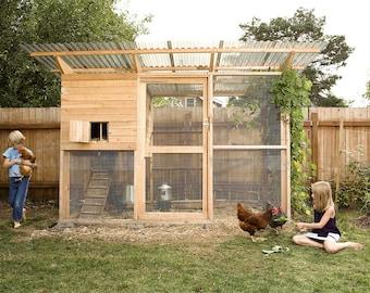 The Garden Coop Walk-In Chicken Coop Plan eBook (PDF), Instant Download, Imperial Units (Feet/Inches)