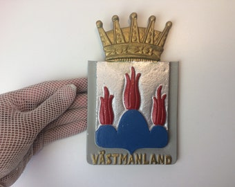 Coat of arms / Cast Metal wall Plaque / Hills in Fire / Västmanland county of Sweden
