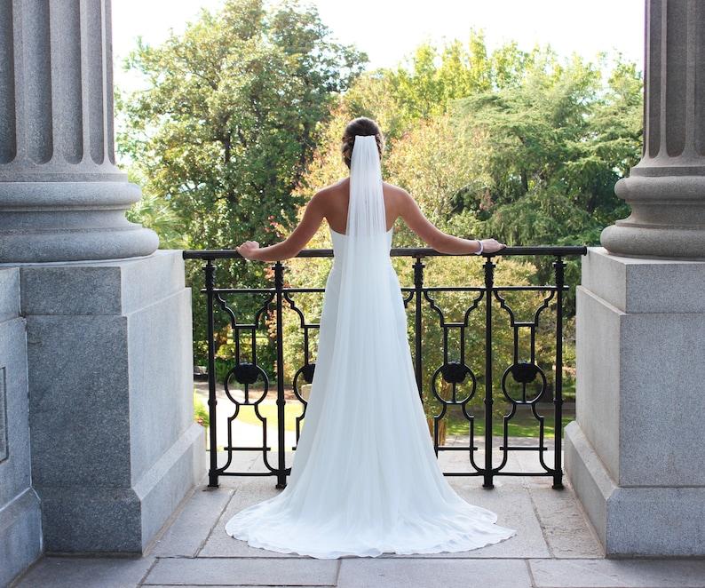 MARY Style Simple Veil English Net Veil Waltz veil Long Veil Soft Veil Chapel Length
