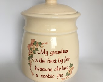 Grandma's Cookie Jar Vintage Treat Jar 1989 House of Lloyd Cookie Jar Cream Color Dogwood Flowers Grandma Poetry Small Compact Cookie Jar