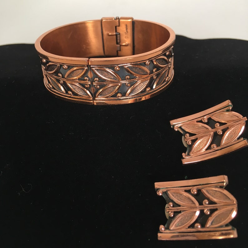 Copper Bracelet and Earring Set Vintage Renoir Cuff Clamp Bracelet and Clip On Earrings Double Leaf Design 1960/'s Modern Design Jewelry